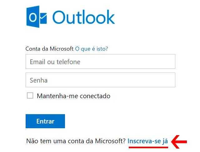 Email Outlook - Criar conta no Webmail da Microsoft