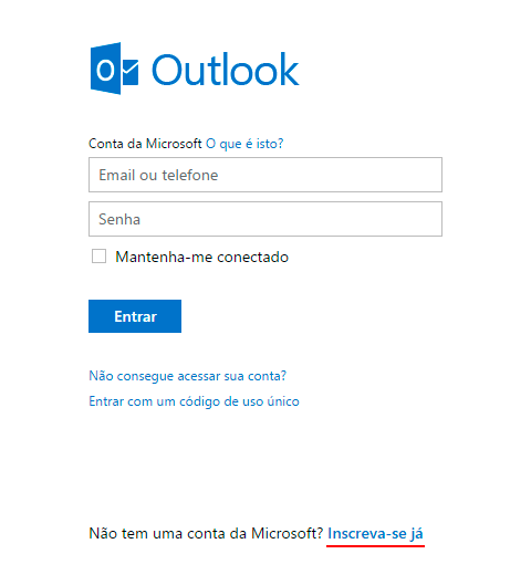 criar email outlook passo 1