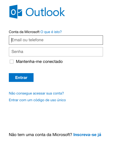 Inscreva-se no hotmail